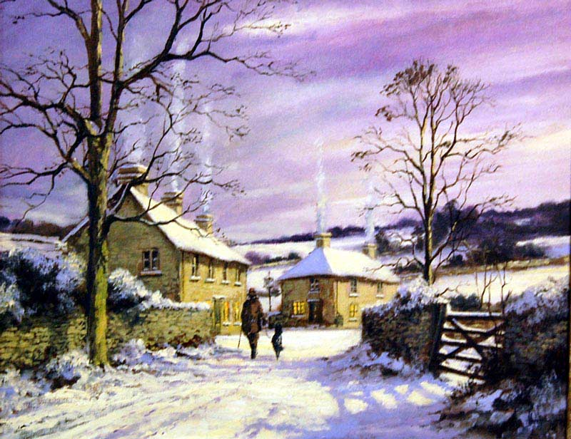 Journey to the Inn - Painting by Alan King