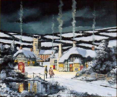 Winter Conversation - Painting by Alan King