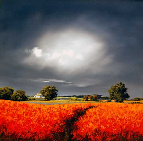Poppies in the Wind - painting by Allan Morgan