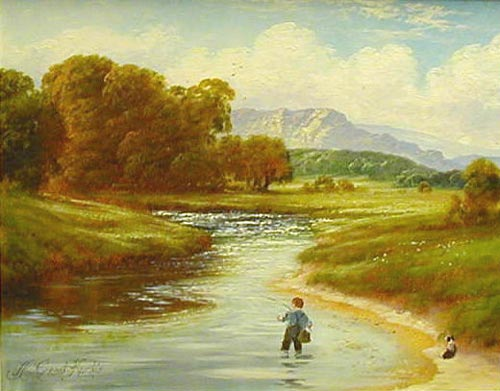 Boy Fishing - Painting by Andrew Grant Kurtis