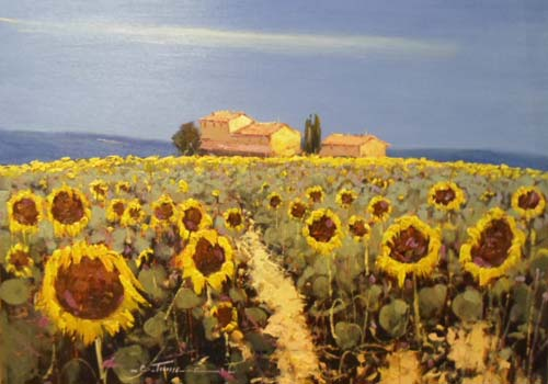 BT058 Sunflowers - Original painting by Bruno Tinucci