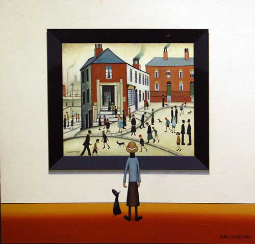 At the Bank - Painting by Chris Chapman