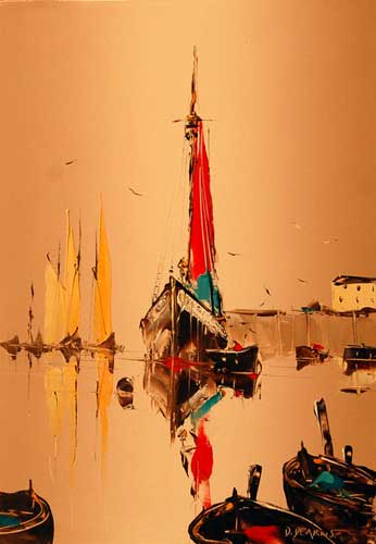 Sails at Sunrise - original painting by David Deakins