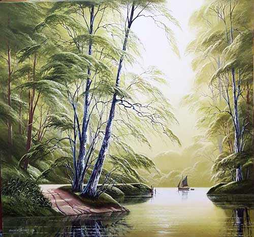 Peaceful River - Original painting by David James