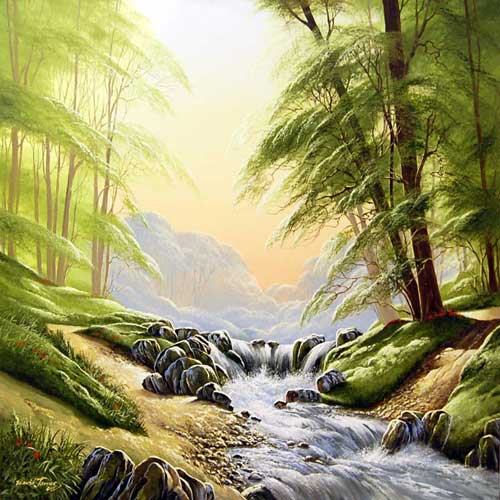 Tumbling Waters - Painting by David James
