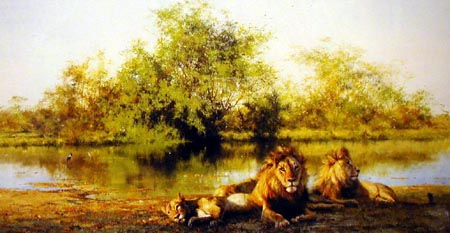 African Evening Zambezi Waterhole - Painting by David Shepherd