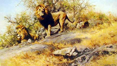 Two Gentlemen Of Savuti - Painting by David Shepherd