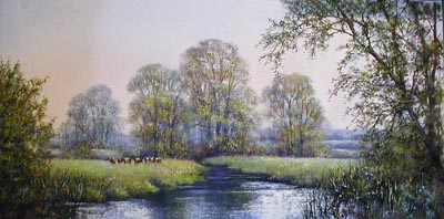 Original river scene - Painting by Deborah Poynton