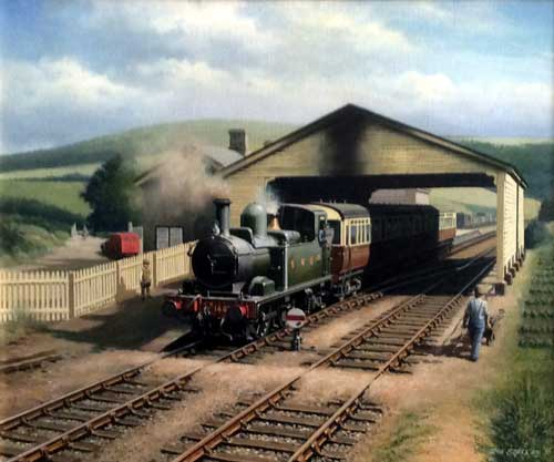Painting by Don Breckon - Great Western 146 Leaving Morehampstead Station