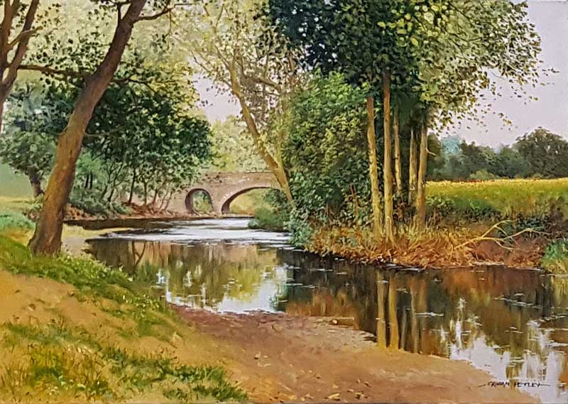 River Arrow, Hereford - Painting by Graham Petley