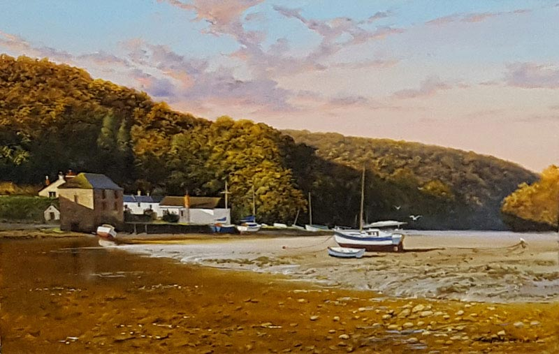 Lerryn - Tide Out - Painting by Graham Petley