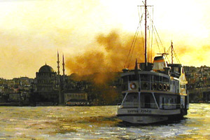 Istanbul - Fading Light - Painting by Ian Hargreaves