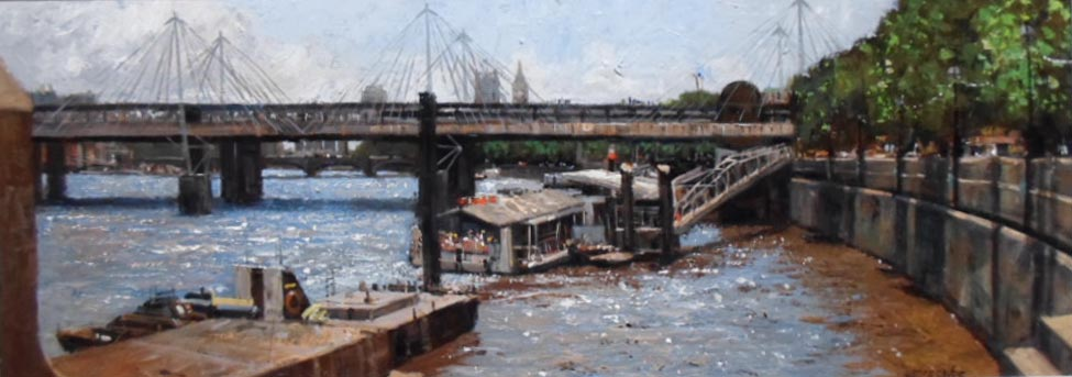 River Thames and Millennium Bridge - Painting by Ian Hargreaves