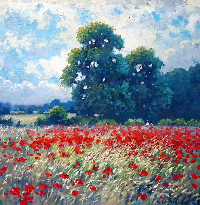 Poppy Fields - Painting by James Preston
