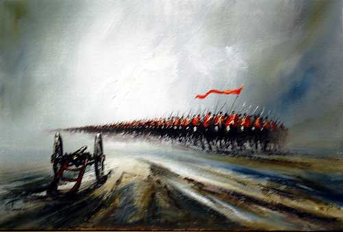 Charge - painting by John Bampfield