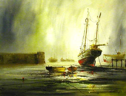 Harbour Scene I - Painting by John Bampfield