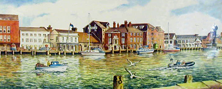 The Quay, Poole - Painting by John Dimech