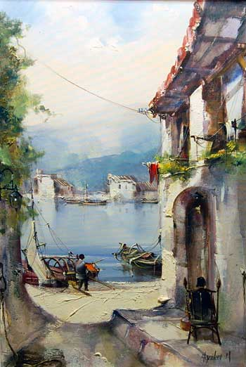 By the Harbour- painting by Jorge Aguilar