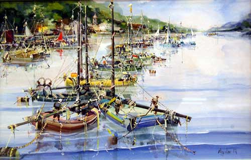 Harbour Scene - painting by Jorge Aguilar