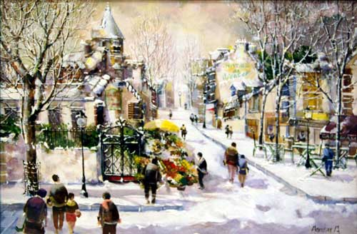 Winter Scene - painting by Jorge Aguilar