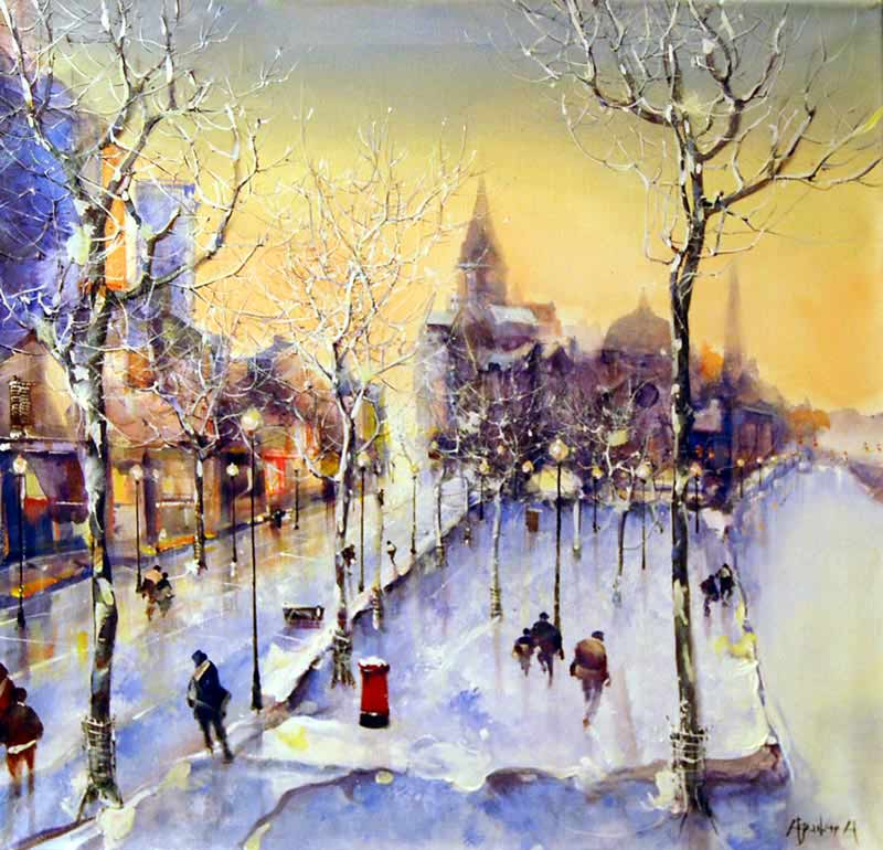 Winter's Glow - Evening - Painting by Jorge Aguilar