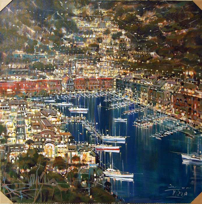 Mizza at Night - Painting by Mario Sanzone