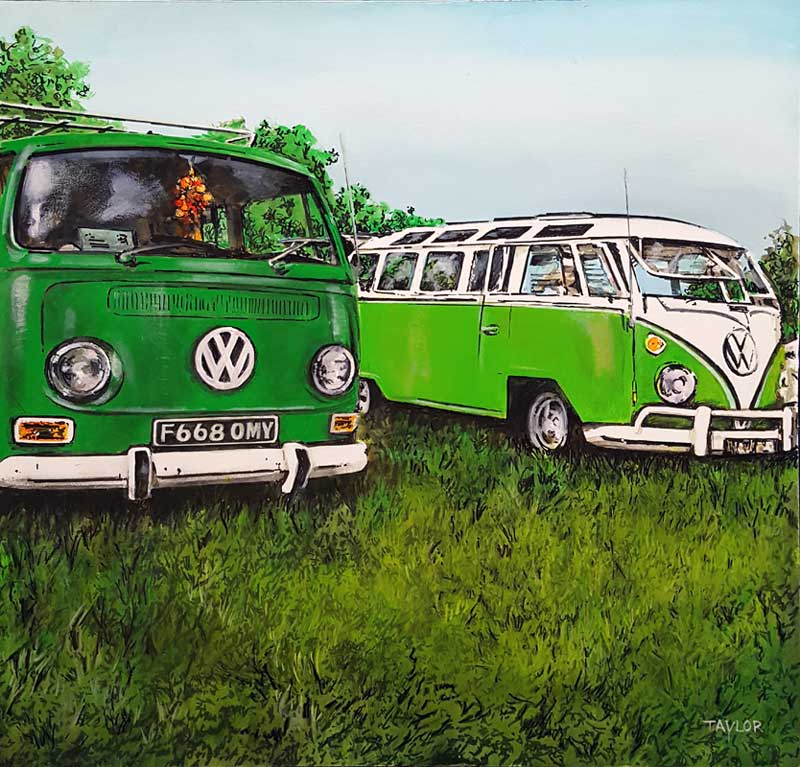 Hello Campers - Painting by Martin Taylor