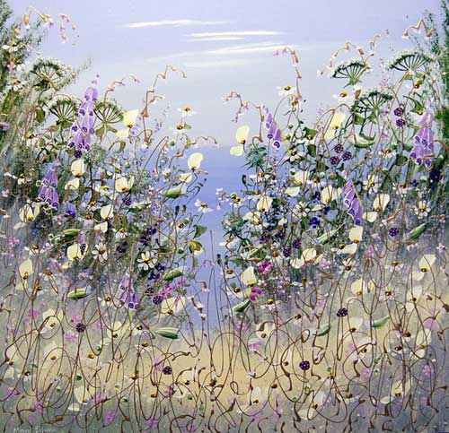 Foxgloves in Summer - Painting by Mary Shaw