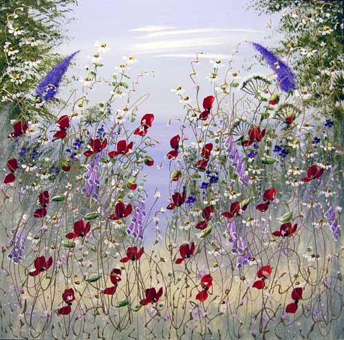 Poppies & Buddleia - Painting by Mary Shaw