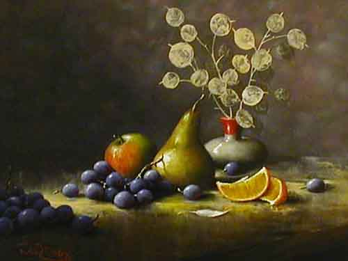 Honesty and Fruit - Painting by Noel Ripley
