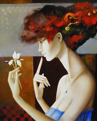 Le Secret d'une Fleur - Painting by Pierre Chevassu