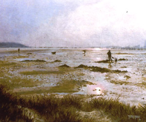 Bait Diggers, Poole Harbour - Painting by Tony Paul