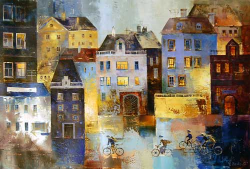 Blue Bicycles - Painting by Veronika Benoni