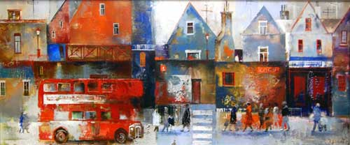 City Bustle - Painting by Veronika Benoni