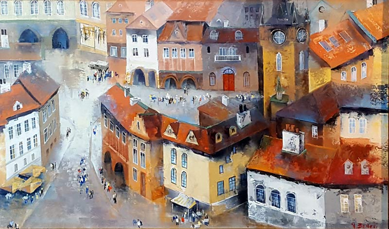The Old Town - Painting by Veronika Benoni