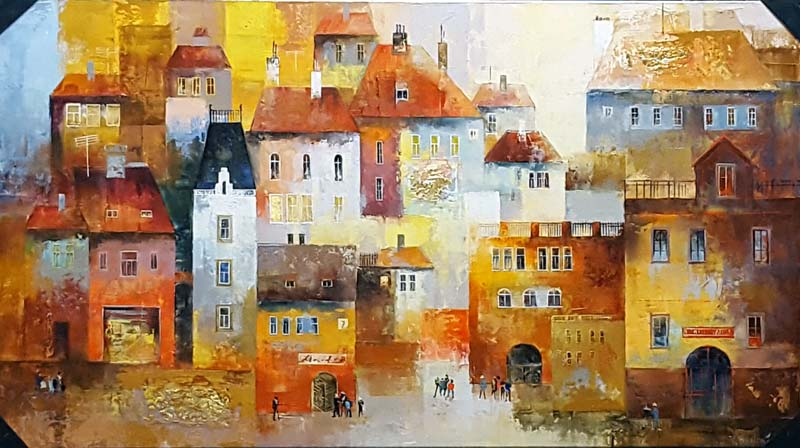 Old Town - Painting by Veronika Benoni